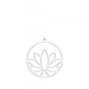 Pendentif Georgettes Lotus rond 45mm argenté
