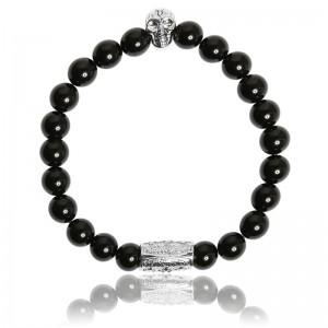 Bracelet Pierres naturelles Agate noire Skull