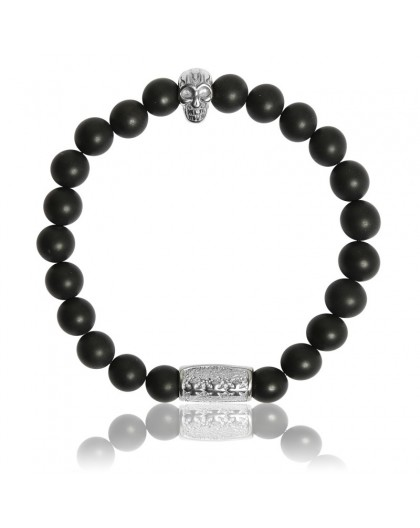 Bracelet Pierres naturelles onyx noir Skull