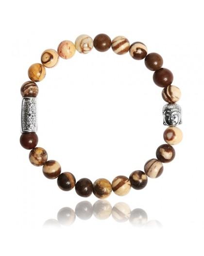 Bracelet Pierres naturelles zébré café Buddha