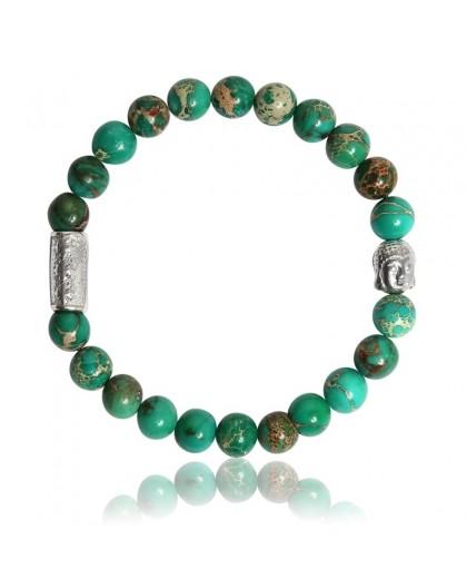 Bracelet Pierres naturelles Jaspe de mer verte Buddha