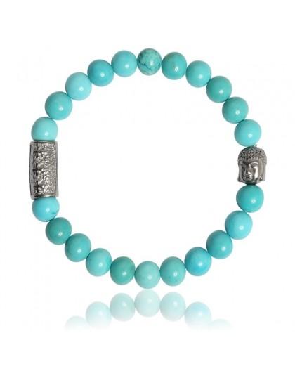 Bracelet Pierres naturelles Turquoise bleue Buddha