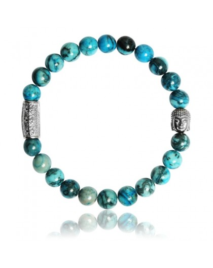Bracelet Pierres naturelles Map stone bleue Buddha