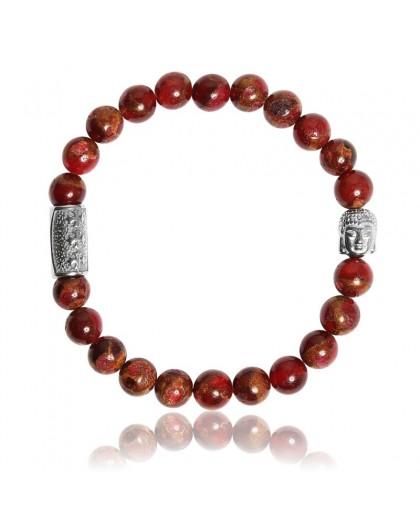Bracelet Pierres naturelles Jaspe rouge Buddha