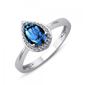 Bague Or gris Topaze bleue traitée et diamants
