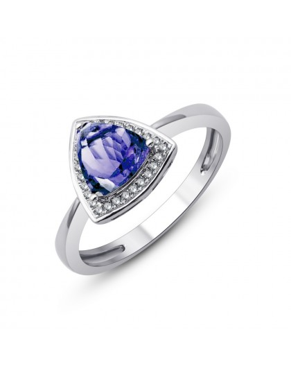 Bague Or gris Tanzanite entourage Diamants