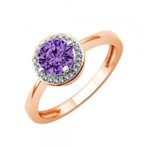 Bague Or rose Améthyste entourage Diamants