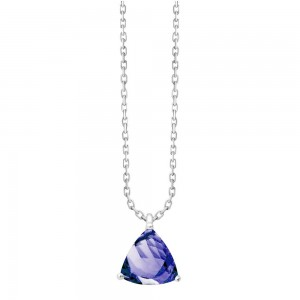 Collier Or gris Tanzanite taille trillion