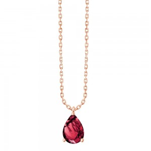 Collier Or rose Rhodolite taille poire