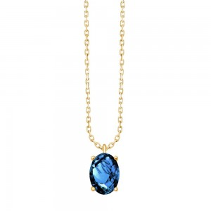 Collier Or jaune Topaze Blue london taille ovale