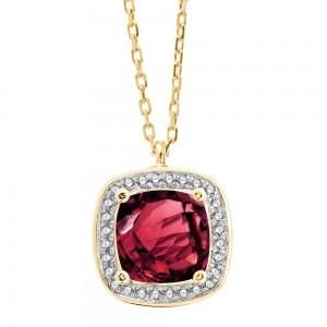 Collier Or jaune Rhodolite entourage Diamants