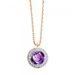 Collier Or rose Améthyste entourage Diamants