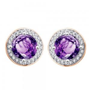 Boucles oreilles Or rose Améthystes et Diamants