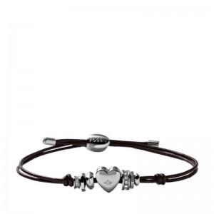 Bracelet Fossil femme JF00116040 coeur sur cuir
