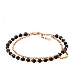 Bracelet Fossil JA7009791 femme rosé perles noires
