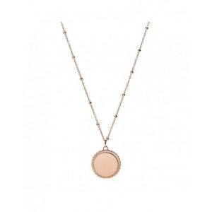 Collier Fossil JF03332791 médaille rosé gravable