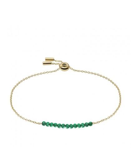 Bracelet Fossil JF03649710 perles vertes doré