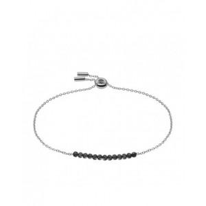 Bracelet Fossil JF03650040 perles noires argenté