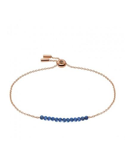 Bracelet Fossil JF03651791 perles bleues rosé