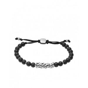 Bracelet Fossil JF03677040 perles noires homme
