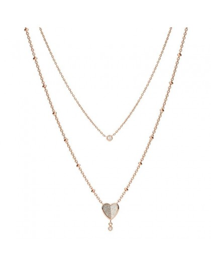 Collier Fossil JF03648791 double chaine coeur rosé