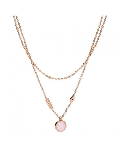 Collier Fossil JF03674791 double rang rosé
