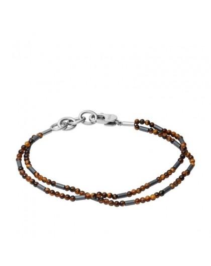 Bracelet Fossil JF03683040 oeil de tigre homme