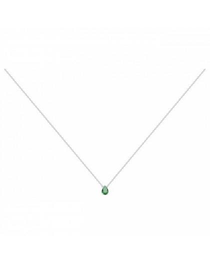 Collier argent solitaire oxyde de zirconium vert