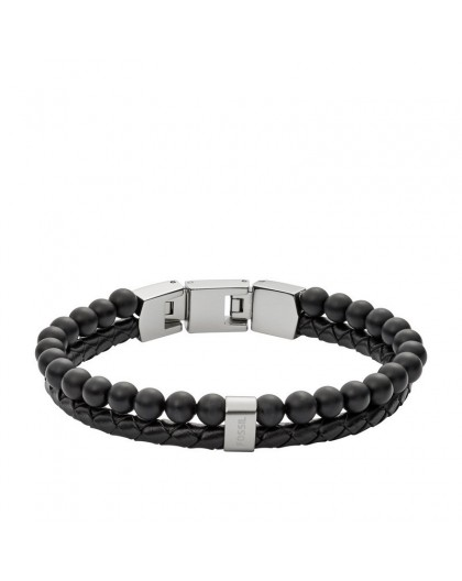 Bracelet Fossil JF02763040 cuir perles noir homme