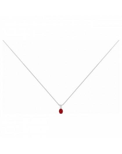 Collier argent oxyde de zirconium rouge