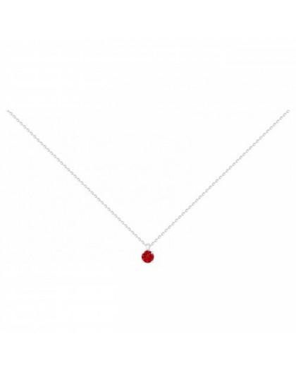 Collier argent solitaire oxyde de zirconium rouge