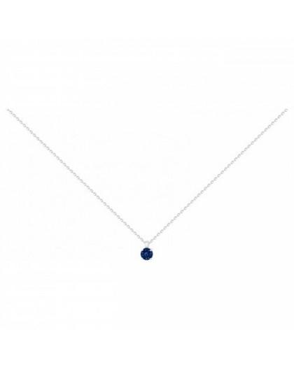 Collier argent solitaire oxyde de zirconium bleu