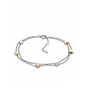 Bracelet Fossil JF02854998 femme chaines coeurs