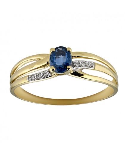 Bague Saphir ovale et diamants