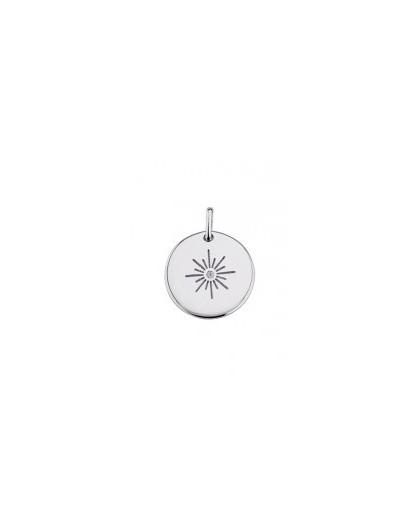 Médaille argent ronde motif étoile gravable