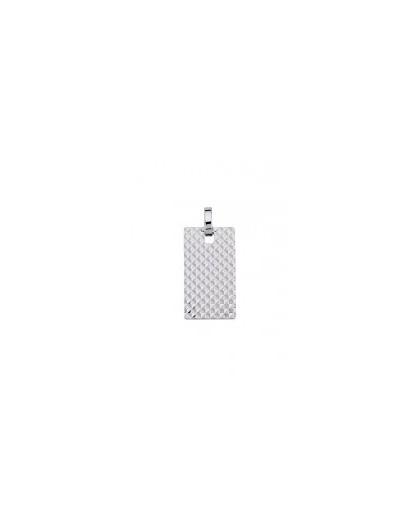 Pendentif argent rectangulaire motif clou de Paris