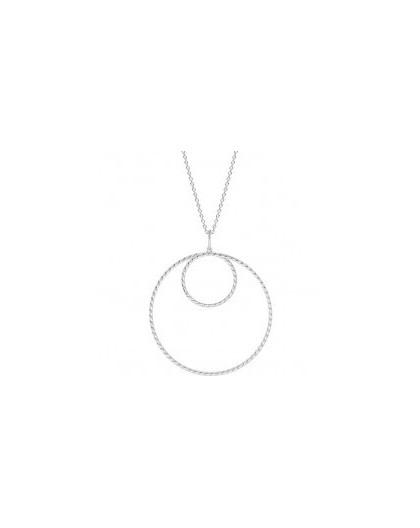 Collier argent Saunier double cercles twistés
