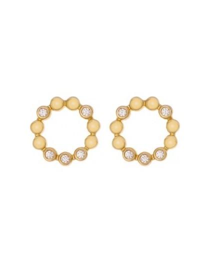 Boucles plaqué or Saunier cercle florale oxydes