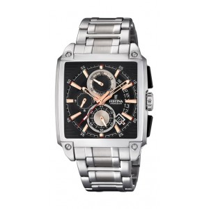 Montre Festina F20264/4 chrono rectangulaire acier