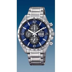 Montre Festina homme F6861-3 acier fond bleu