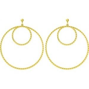 Boucles plaqué or Saunier double cercles twistés