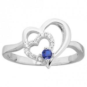 Bague Argent coeur oxyde bleu et blancs