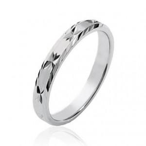 Alliance argent 3mm finition diamantée étoilé