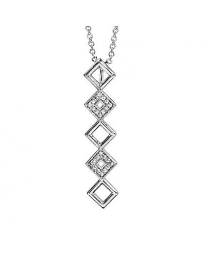 Collier Argent motif carrés multiples sertis
