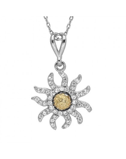 Collier Argent Edelweiss pavage oxydes