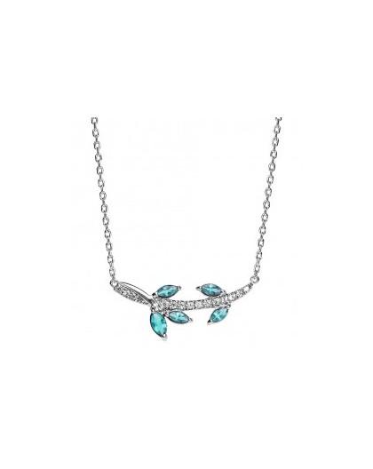 Collier Argent motif floral oxydes bleus