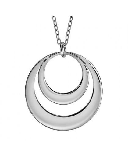 Collier Argent double cercles gravables