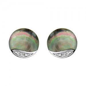 Boucles d'oreilles argent motif cercle nacre noire