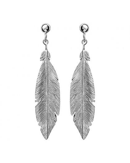 Boucles d'oreilles argent motif plumes