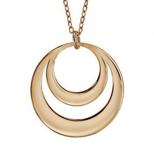 Collier plaqué Or motif double cercles gravables